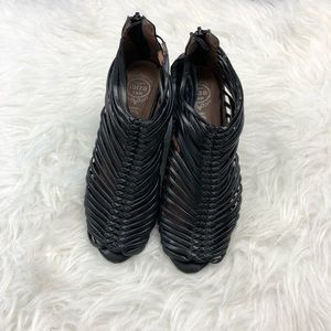 Jeffery Campbell black caged wedge booties